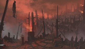 Hellraid concept art depicts a surreal, twisted Hell